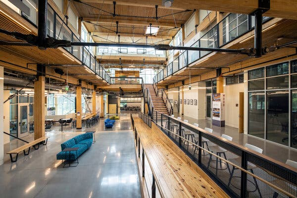 Twenty-five thousand linear feet of two-by-four wooden planks was salvaged from Atlanta film sets and incorporated into the Kendeda Building.